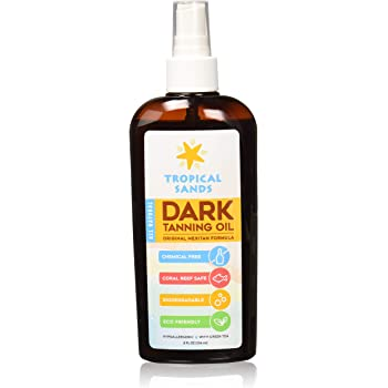 All Natural Dark Tanning Oil by Tropical Sands, Biodegradable, Waterproof and Reef Safe!, 8 fl oz