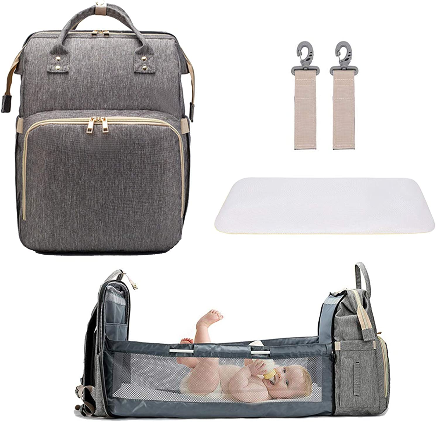 3 in1 Diaper Bag Bed Foldable Travel Backpack with Changing Station