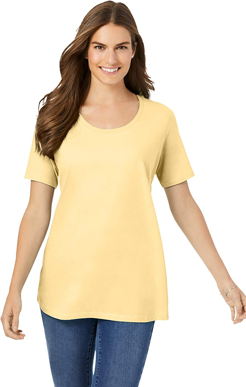 Woman Within Women's Plus Size Perfect Short-Sleeve Scoop-Neck Tee Shirt