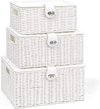 Set of 3 Resin Woven Storage Basket Box with Lid & Lock White