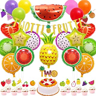 70 Packs Tutti Frutti Party Decorations Set Twotti Frutti Glitter Banner/Cake Topper Fruit Cupcake Toppers Mylar Balloons for Twotti Fruity Second Birthday Party