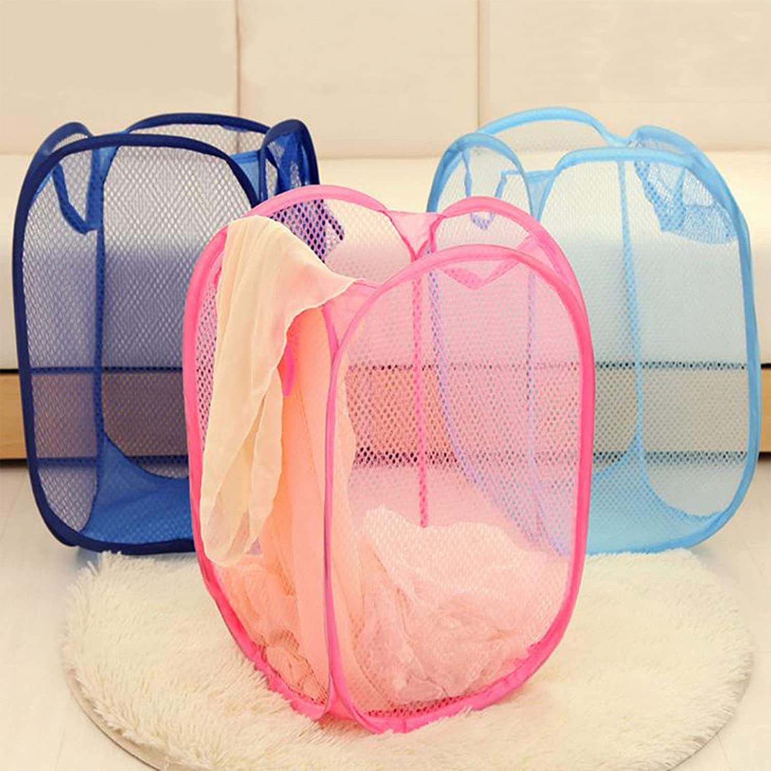 TRGCJGH Mesh Popup Laundry Max 68% OFF for Ranking integrated 1st place Basket Collapsible Hamper