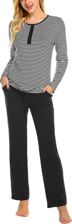 Ekouaer Womens Pajamas Set Long Sleeve Sleepwear with Long Bottoms Soft Pj Lounge Set S-XXL