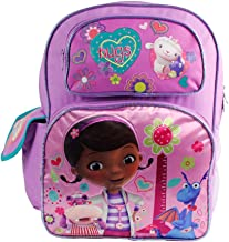 16 inch Doc McStuffins Purple Backpack with Her next to Hippo 'Hugs'