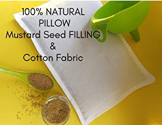 Mustard Seed Pillow To Prevent Flat Heads in Newborns - All Natural Baby Pillow to Remedy Plagiocephaly - Infant Pillow w/Cotton Pillowcase - Rai Ka Thakiya for Head Shaping 0-6 mts - Handmade in USA