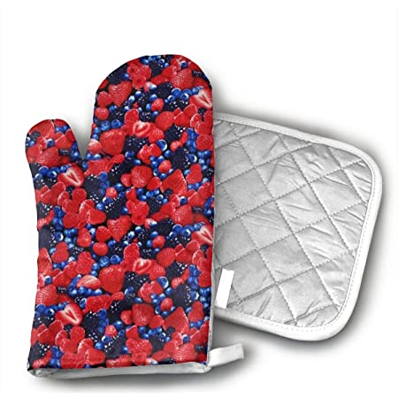 Set of two Pot Holders and a Matching Oven Mitt Strawberry Summer