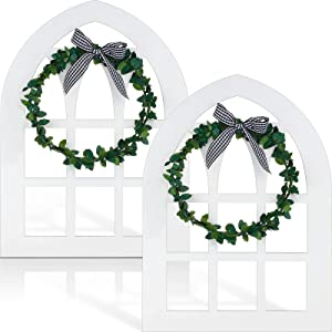 2 Pieces Over-large Wooden Window Tiered Tray Decor Cathedral Arch Window Sign Farmhouse Wooden Rustic Window Decor with Black and White Plaid Bow and Green Wreath for Spring Summer Home Decoration