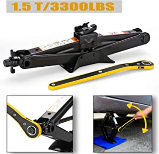 CPROSP Scissor Jack for car/SUV/MPV max 1.5 Tons(3,307 lbs) Capacity with Hand Crank Trolley Lifter with Ratchet