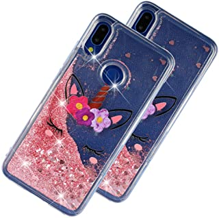 LEECOCO Case for Huawei Honor 8X Bling Glitter Liquid Sparkle Floating Crystal Floral Printing Flower TPU Silicone Rubber Bumper Shockproof Protective Case Cover for Huawei Honor 8X