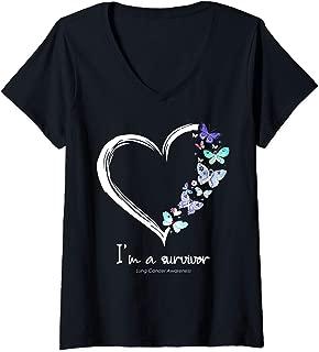 Womens I'm A Survivor Lung Cancer Awareness V-Neck T-Shirt