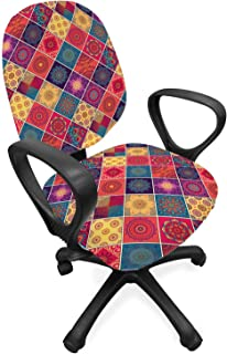 ABAKUHAUS Mandala Funda para Silla de Oficina, Diamond Modelo de los Cuadrados, Protectora con Estampa Digital Decorativa Tejido Elastizado, Multicolor