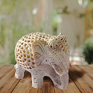 Nirvana Class Handmade Stone Lucky Elephant Figurine Animal Statue in Jali Or Openwork from a Single Block of Stone Home D...