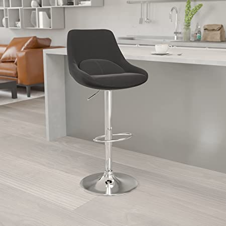 Flash Furniture Contemporary Black Fabric Adjustable Height Barstool with Chrome Base