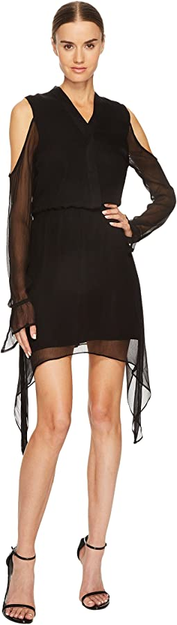 LAMARQUE - Amarina Cold Shoulder Long Sleeve Silk Dress