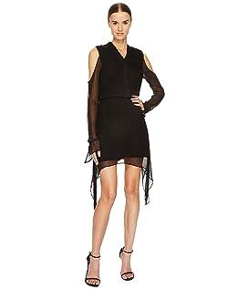 Amarina Cold Shoulder Long Sleeve Silk Dress