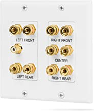 Fosmon (2-Gang 5.1 Surround Distribution) Home Theater Wall Plate - Premium Quality Gold Plated Copper Banana Binding Post Coupler Type Wall Plate for Speakers and RCA Jack for Subwoofer (White)