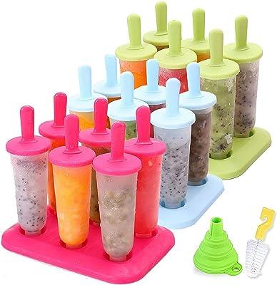 Moldes para paletas de hielo con embudo y cepillo, 3 colores