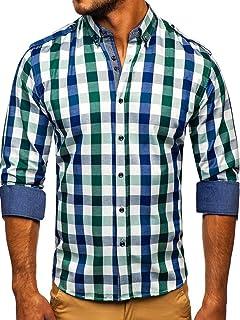 BOLF Hombre Camisa de Manga Larga A Cuadros Cuello Americano Slim Fit Estilo Casual Mix 2B2