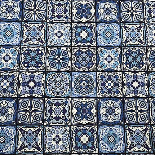 Kt KILOtela Tela de loneta Estampada Digital - Retal de 100 cm Largo x 280 cm Ancho | Azulejos cerámica - Azul ― 1 Metro