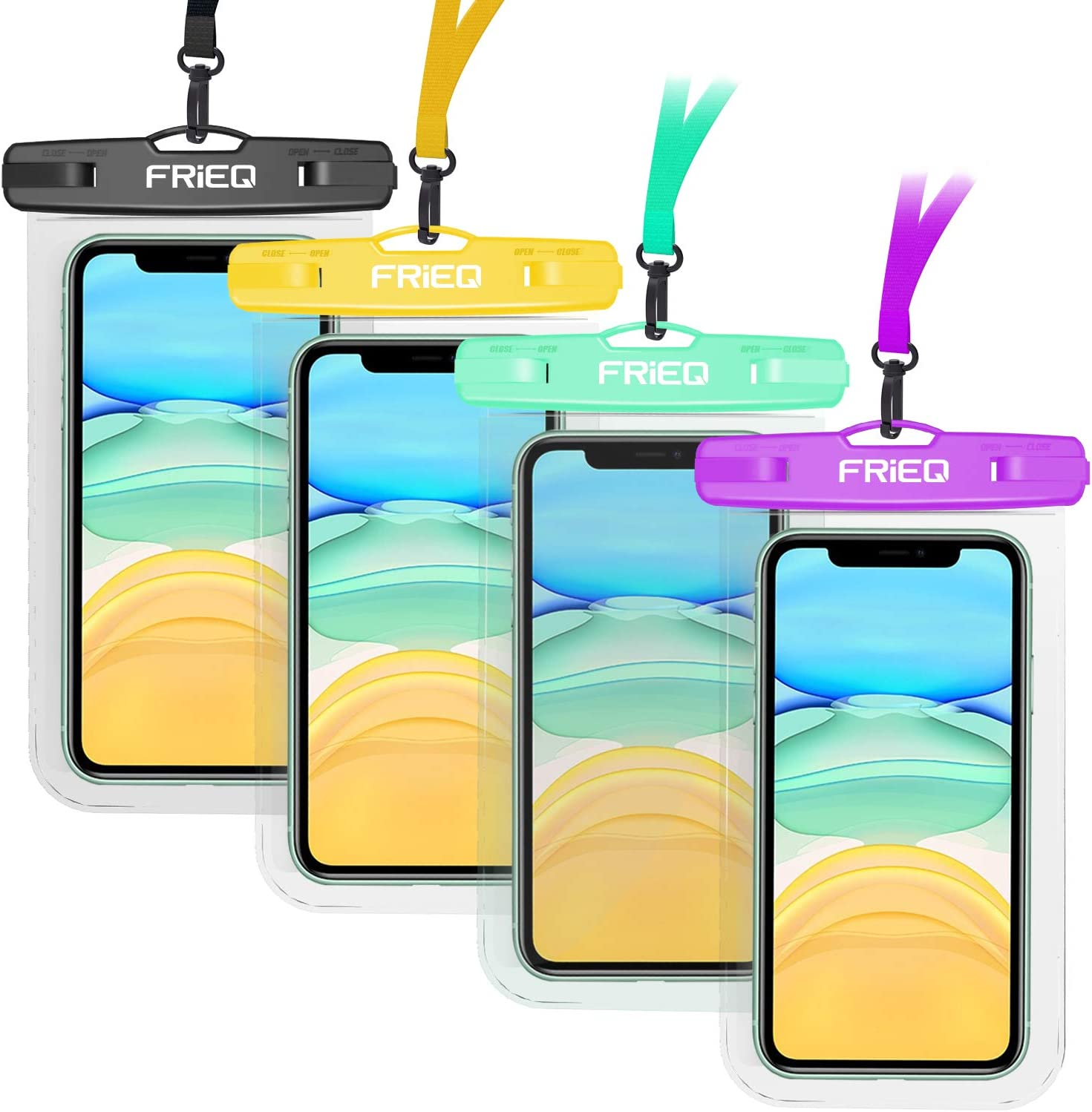 FRiEQ Universal Waterproof Case, 4 Pack Waterproof Phone Pouch Underwater IPX8 Dry Bag Compatible iPhone 12/12 Pro Max/11/11 Pro/SE/Xs Max/XR/8P/7 Galaxy up to 7