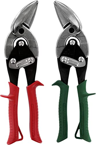 MIDWEST Aviation Snip Set - Left and Right Cut Offset Tin Cutting Shears with Forged Blade & KUSH'N-POWER Comfort Gri...