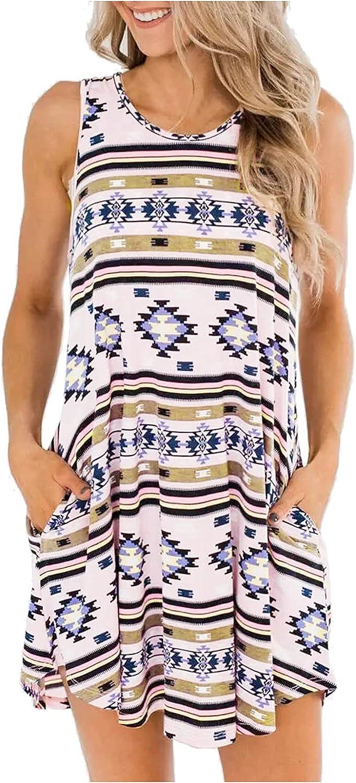 Shirt Dresses 40% OFF Cheap Sale for Women Summer Short Super sale Sundress Casual Sleeveless