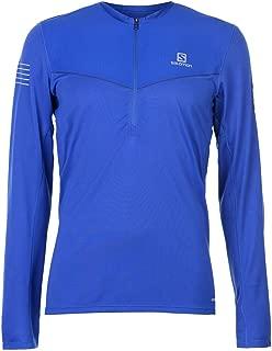 Salomon Fast Wing Zip LS Running T-Shirt Mens Blue Activewear Fitness Top Small