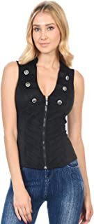 Sexy Suede Spandex Military Look Club Wear Rave Vest Jacket Top (L3615)