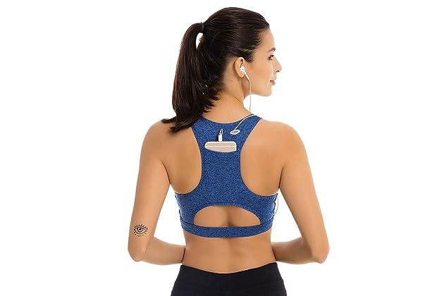 1408326dc6787 Women Sport Bra Back Pocket Running Yoga Bras Padded High Impact Workout  Racerback Activewear