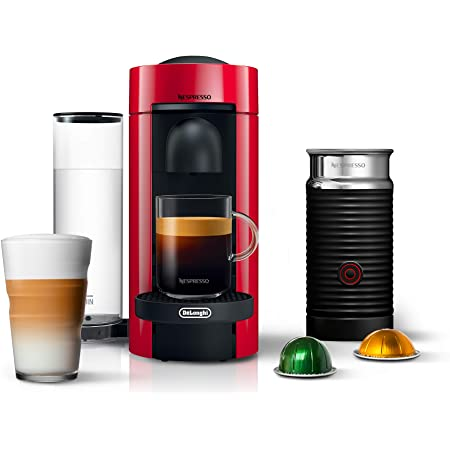 Nespresso VertuoPlus Coffee and Espresso Machine Bundle with Aeroccino Milk Frother by De'Longhi, Red