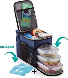 ZUZURO Insulated lunch Bag cooler box w/ 3 compartment - Includes 3 Meal Prep Containers - Detachable Shoulder Strap + 2 Ice Packs. Great for Work Office or Travel Lunch Box (Blue)