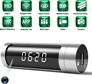Spy Camera, 1080P Hidden Camera Clock WiFi Wireless IP Cameras Aluminium Alloys Housing Video Recorder for Home Security Monitoring Nanny Cam with Night Vision Motion Detection Power Bank(Latest)