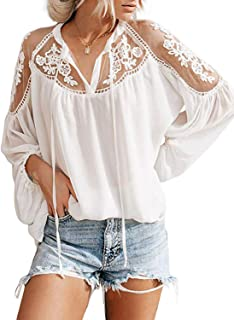 Best Womens Casual Solid V Neck Lace Crochet Button Down Bell Sleeve Shirts Tops Loose Blouses(S-XXL) Review