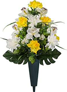 Sympathy Silks Artificial Cemetery Flowers – Realistic Elegant Orchids, Outdoor Grave Decorations - Non-Bleed Colors, and Easy Fit - Yellow White Orchids Bouquet with Cemetery Vase