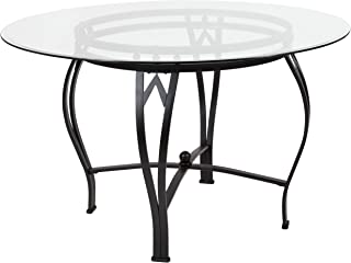 MFO Diana Collection 48'' Round Glass Dining Table with Black Metal Frame