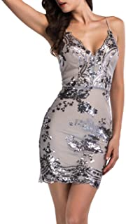 Women's Sexy Backless Bodycon Floral Sequin Clubwear Party Dress