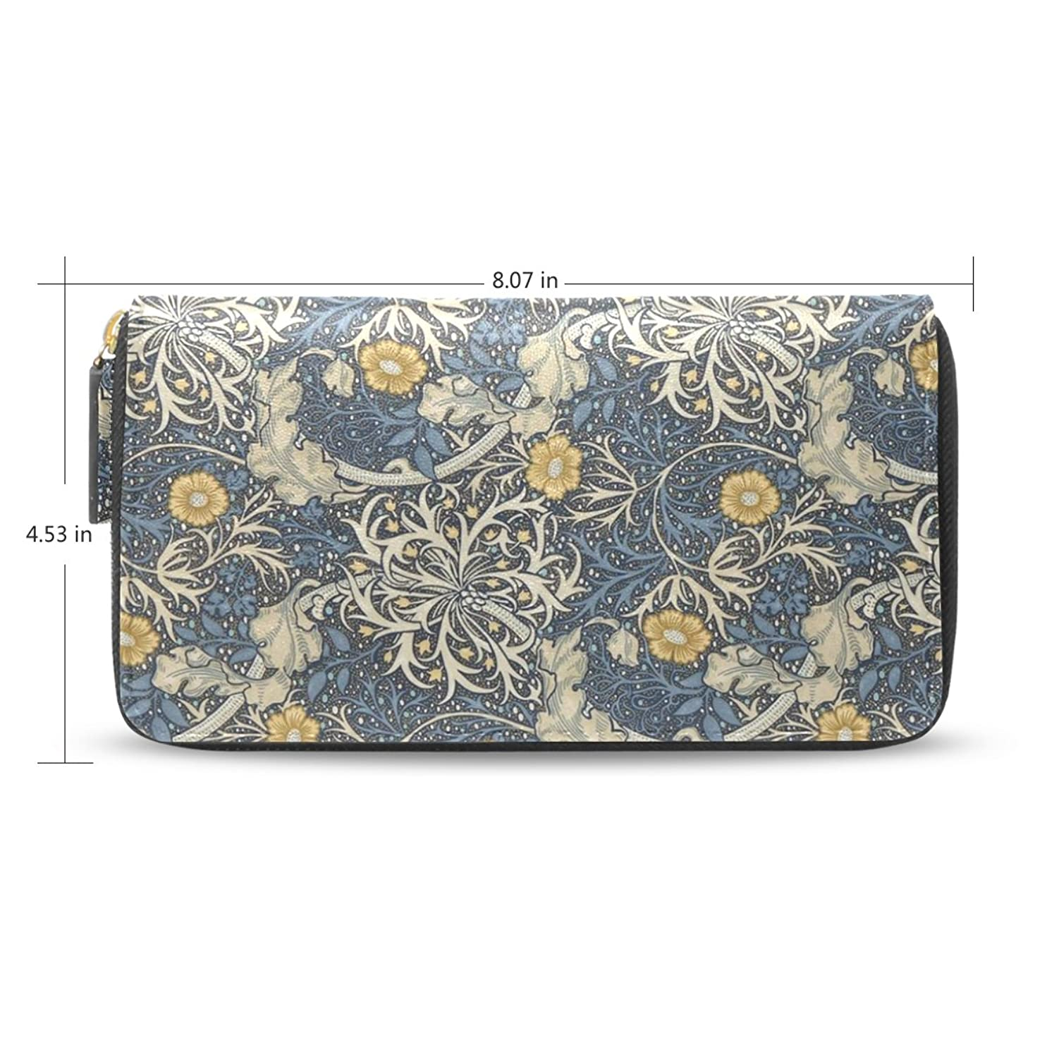 無駄だ音楽を聴く主張するWomens William Morris Printsレザー長財布財布ケースカードホルダー
