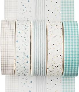 YUBX Lot de 5 rouleaux de ruban adhésif Washi - Créatif - Basique - Skinny - Pour les loisirs créatifs, les bullet journau...
