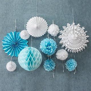 Easy Joy Decoración, Ventilador de Papel Pompom Celestial Flower para Fiesta de Cumpleaños Aniversario de Boda, Etc, 11 Piezas, Azul Claro