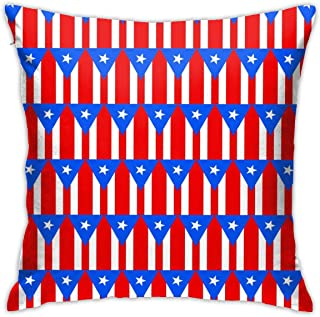 Merahans Decorative Throw Pillow Cover Flag of Puerto Rico Pattern Pillow Cover 18x18 Inchs - Double Sided Print - for Sofa Couch Home Car Bedroom Living Room Decor