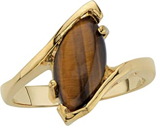 Palm Beach Jewelry 14K Yellow Gold Plated Marquise Shaped Genuine Brown Tiger's Eye Bypass Ring
