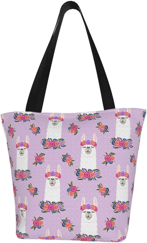 Llama Purple Wreath Head Themed Printed Women Canvas Handbag Zipper Shoulder Bag Work Booksbag Tote Purse Leisure Hobo Bag For Shopping