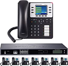 Business Phone System by Grandstream 8-Line Enhanced Pack: Color Phones Including Auto Attendant Voicemail Cell & Remote Extensions Call Recording & Free Telco Depot Dialtone 1 Year (8 Phone Bundle)
