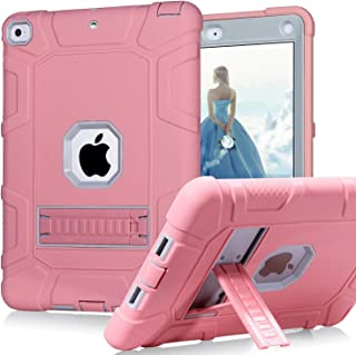 CreaDream New iPad 9.7 Inch Case 2018/2017, iPad 6th/5th Generation Case 3 Layer Shockproof Rugged Drop Protection Cover Built with Kickstand for Apple iPad 9.7 inch A1893 A1954 A1822 A1823 (Pink)