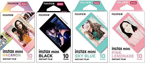 Macaron and Black and Sky Blue and Pink Lemonade instax Mini Films for Fuji instax Mini Set of 4 Packs x 40 Photos