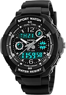 Boys Watch, Kids Teens Boys Waterproof Sports Digital Analog Watches Timepiece Silver with Soft Rubber Band Black