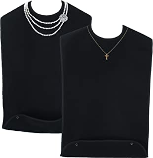 Classy Pal | Adult Bib for Women with Embroidered Design. Waterproof, Reusable & Washable | 2 Pack (Pearl Necklace + Gold Cross Necklace)