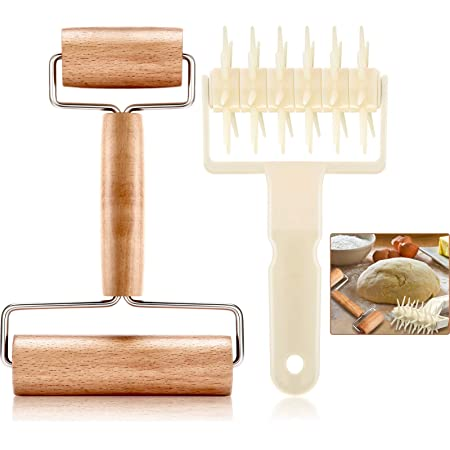 2 Pieces Pizza Plastic Dough Docker Wood Pastry Pizza Roller, Time-Saver Pizza Dough Roller Docker for Pizza Crust or Pastry Dough