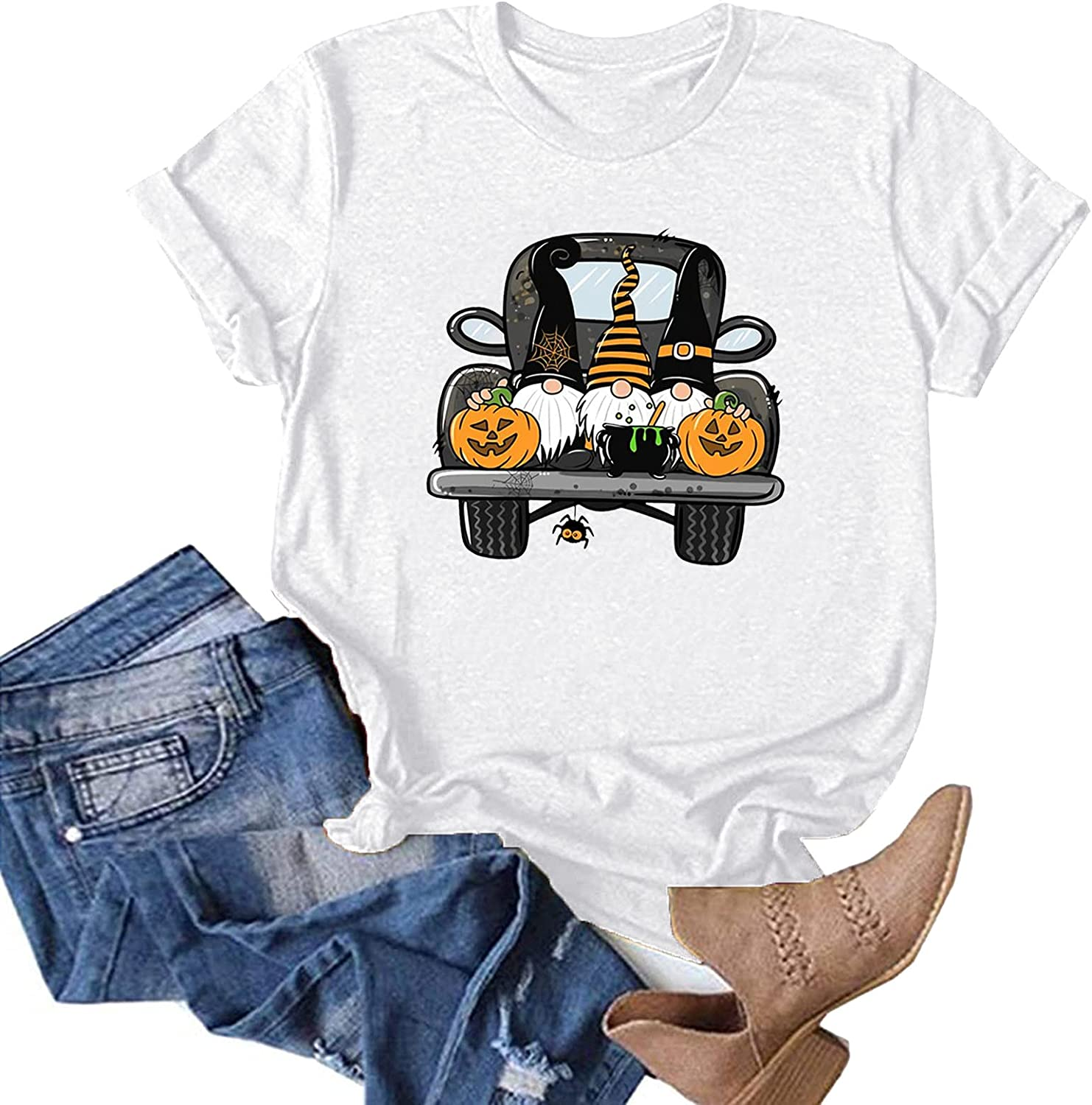 AODONG Women Halloween Shirts, Women's Halloween Tops Gnomes Printed Casual Funny Graphic T-Shirts Loose Tunic Tees