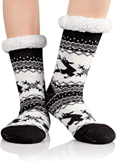 Zando Womens Winter Thermal Slipper Socks for Women Soft Warm Socks Non Slip Fleece Lined Fuzzy Socks